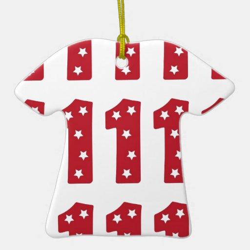 Number 1 - White Stars on Dark Red Christmas Tree Ornament