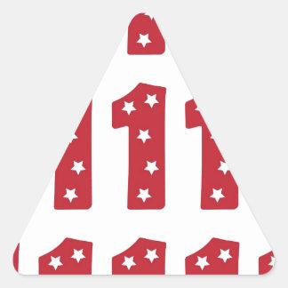 Number 1 - White Stars on Dark Red Triangle Sticker