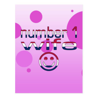 Number 1 Wife in American Flag Colors Postcard