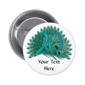 Number 20 / age / years / 20th birthday template 2 inch round button