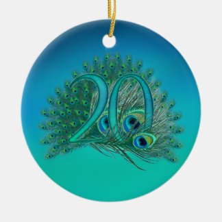 Number 20 / age / years / 20th birthday template Double-Sided ceramic round christmas ornament