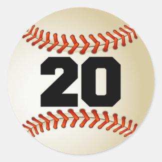 Number 20 Baseball Classic Round Sticker