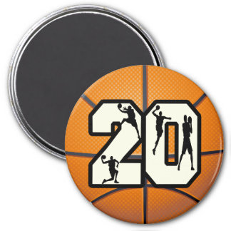 Number 20 Basketball 3 Inch Round Magnet