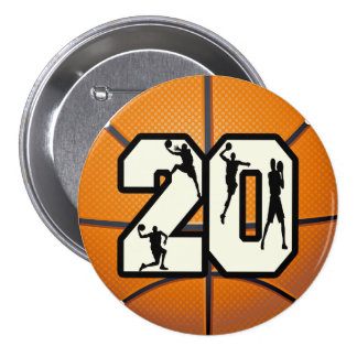 Number 20 Basketball 3 Inch Round Button