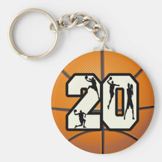 Number 20 Basketball Keychain