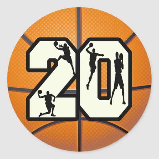 Number 20 Basketball Round Stickers