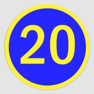 number 20 in a circle round stickers