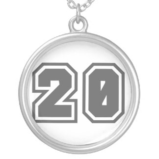 Number 20 round pendant necklace