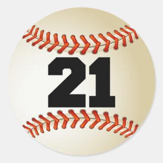 Number 21 Baseball Classic Round Sticker