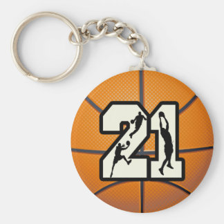 Number 21 Basketball Keychain