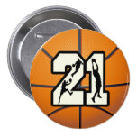 Number 21 Basketball Pinback Buttons