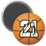 Number 21 Basketball Refrigerator Magnet