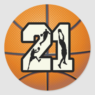 Number 21 Basketball Classic Round Sticker