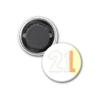 Number 21 magnet in white, orange, and yellow
