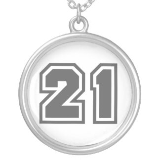 Number 21 silver plated necklace