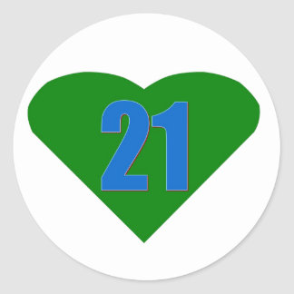 Number 21 round sticker