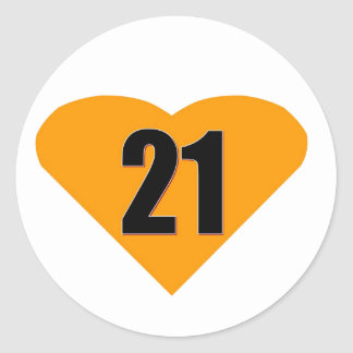 Number 21 round stickers