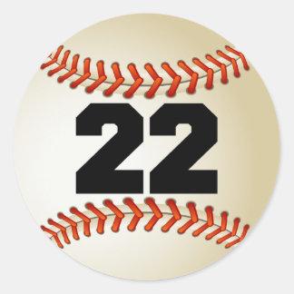 Number 22 Baseball Classic Round Sticker