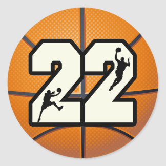 Number 22 Basketball Classic Round Sticker