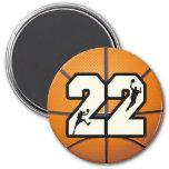 Number 22 Basketball Fridge Magnets