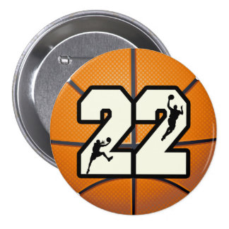 Number 22 Basketball Pinback Button