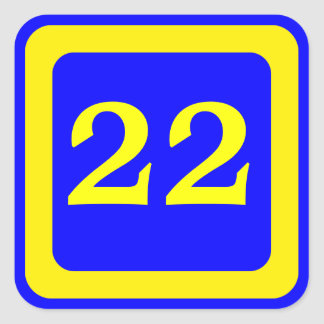 number 22, blue background, yellow frame square sticker