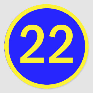 number 22 in a circle classic round sticker
