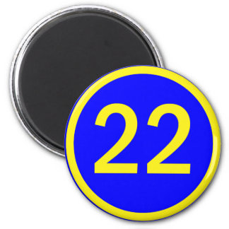 number 22 in a circle magnet