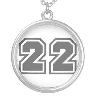 Number 22 round pendant necklace