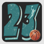Number 23 Basketball and Player Square Sticker