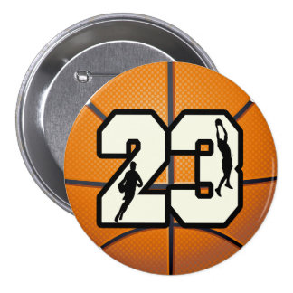 Number 23 Basketball 3 Inch Round Button