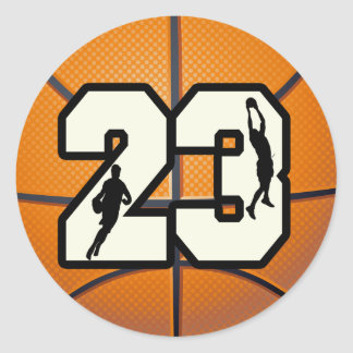 Number 23 Basketball Classic Round Sticker