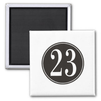 Number 23 - Black Circle (front) 2 Inch Square Magnet