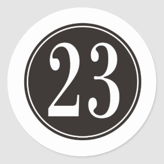 Number 23 - Black Circle (front) Classic Round Sticker