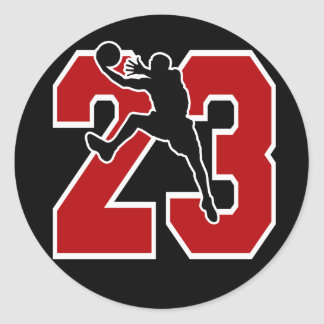 NUMBER 23 WITH BASKETBALL PLAYER CLASSIC ROUND STICKER