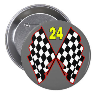 Number 24 and Checkered Flags 3 Inch Round Button