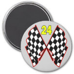 Number 24 and Checkered Flags Magnet