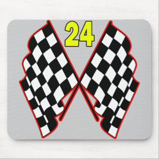Number 24 and Checkered Flags Mouse Pad