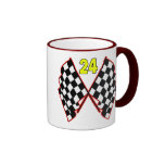Number 24 and Checkered Flags Ringer Coffee Mug
