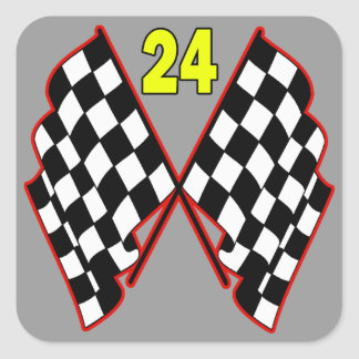 Number 24 and Checkered Flags Square Sticker
