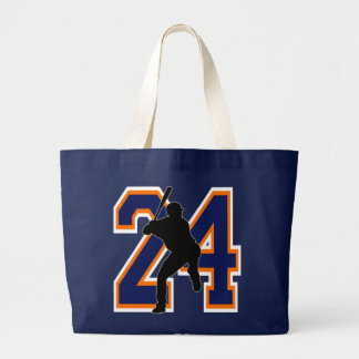 NUMBER 24 BASEBALL PLAYER LARGE TOTE BAG
