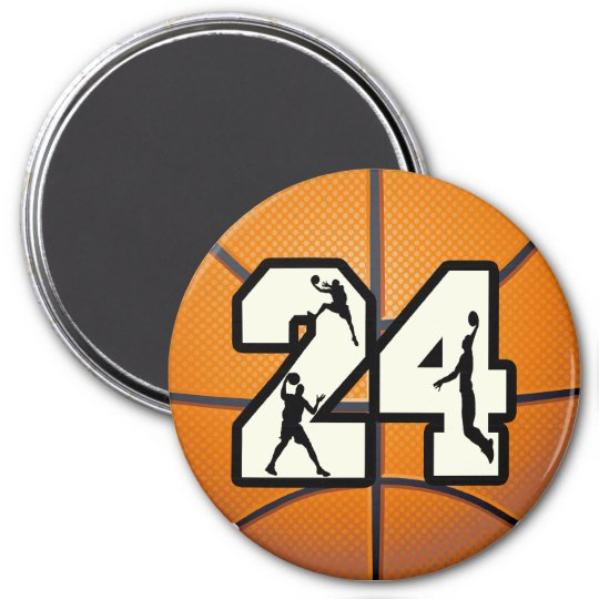 Number 24 Basketball 3 Inch Round Magnet