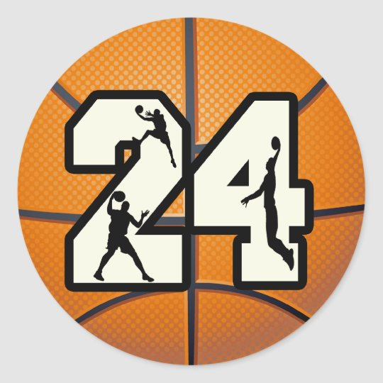 Number 24 Basketball Classic Round Sticker