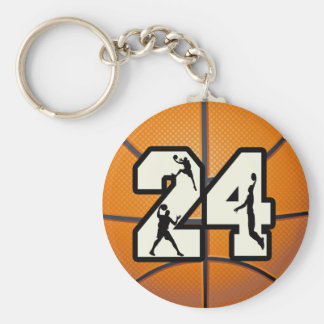 Number 24 Basketball Keychain