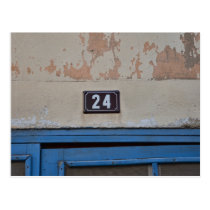 Number 24 Blue Provence French Doorway Postcard