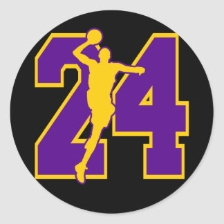 NUMBER 24 WITH BASKETBALL PLAYER CLASSIC ROUND STICKER