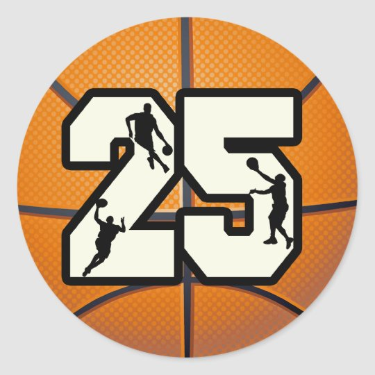 Number 25 Basketball Classic Round Sticker