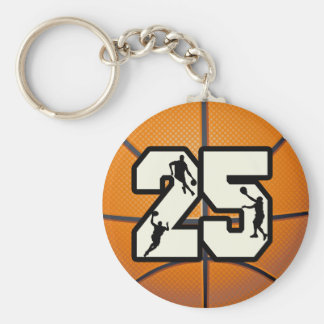 Number 25 Basketball Keychain