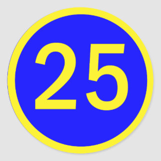 Number 25 In A Circle Stickers
