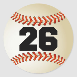 Number 26 Baseball Classic Round Sticker